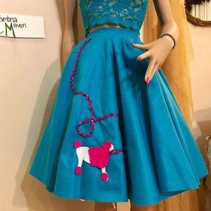 Poodle Skirt Turquoise vintage felt bespoke